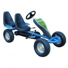 Kart pentru copii cu pedale, două locuri și 2 autocolante, Albastru - Kart cu pedale