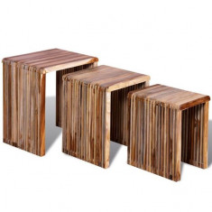 Set de 3 mese suprapuse din lemn de tec reciclat - Masa living
