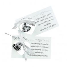 50 x Silvertone Nunta Bell de pe un card - Invitatii nunta