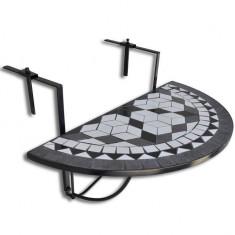Masă suspendată pliabilă pentru balcon semi-circulară, Negru-Alb - Masa gradina