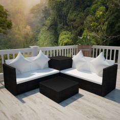 Set mobilier grădină poliratan cu cufăr depozitare Negru - Set gradina