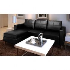 Canapea secțională din piele artificială în formă de L, 3 piese, negru