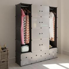 Dulap modular cu 18 compartimente alb & negru 37 x 150 x 190 cm