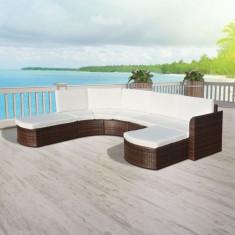 Set canapea de grădină din poliratan 16 piese, Maro - Husa pat