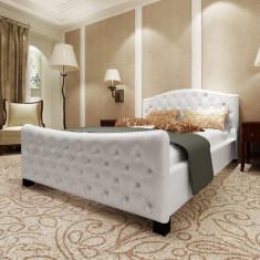 Pat luxos piele artificială, cu saltea, de culoare alb, 140 x 200 cm - Cuvertura pat