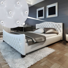 Pat strălucitor piele artificială Cristale acrilice 180 x 200 cm Alb - Cuvertura pat
