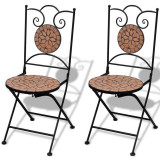 Set de 2 scaune din mozaic, culoare teracota - Scaun gradina