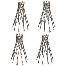 Set 4 suporturi în formă de pâlnie cu zăbrele din salcie 90 cm - Suport Pescuit