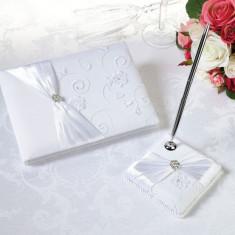 Alb Lace Cartea de oaspeți & Pen Set - Bustiera dama