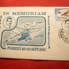 Plic special Aviatie- Expozitia-70Ani de la moartea lui A.Vlaicu- Ploiesti 1983