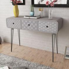 Comodă laterală / masă consolă cu trei sertare, gri - Masa living