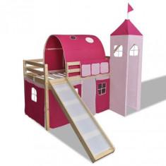 Pat supraetajat Castel Prințesă roz cu scară laterală culoare lemn - Pat supraetajat pentru copii