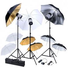 Kit studio 3 blițuri, 9 umbrele și 3 stative - Lumini Studio foto