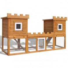 Cușcă Mare de Exterior cu 2 Căsuțe pentru Iepuri