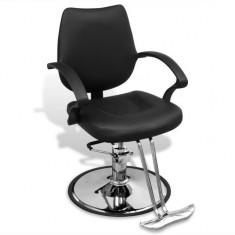 Scaun profesional de frizer, cu piele artificială, negru - Scaun masaj