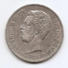 Spania 5 Pesetas 1871 - Amadeo I, Argint 25 g/900, 37 mm KM-666 (1), Europa
