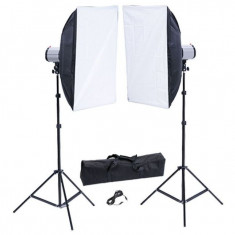 Kit studio foto: 2 blitzuri 120 W/s, 2 softbox-uri 50 x 70 cm - Echipament Foto Studio