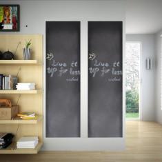 Autocolant pentru perete, design tablă, 0, 6 x 3 m, 2 buc + cretă