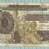 Bancnota  1000 dinari Serbia 1941-rara