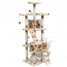 Ansamblu de joacă cu stâlp 170 cm 2 căsuțe Galben cu urme de lăbuțe