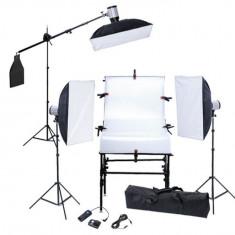 Kit studio masă foto, 3 softboxuri, 3 blitzuri și 3 trepiede - Lumini Studio foto