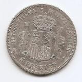 Spania 5 Pesetas 1871 - Amadeo I, Argint 25 g/900, 37 mm KM-666 (2)