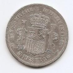 Spania 5 Pesetas 1871 - Amadeo I, Argint 25 g/900, 37 mm KM-666 (2), Europa