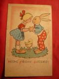 Ilustrata -Felicitare de Paste - Fetita si Iepure 1948, Circulata, Printata