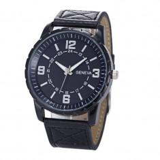 Ceas barbati - marca Geneva - cadran negru curea neagra - Ceas barbatesc Geneva, Quartz