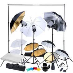 Kit studio: 3 blițuri & 9 umbrele - Lumini Studio foto