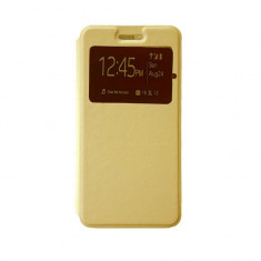 Husa ALLVIEW X4 Soul Style S-VIEW Gold - Husa Telefon Allview, Negru, Piele Ecologica, Cu clapeta, Toc