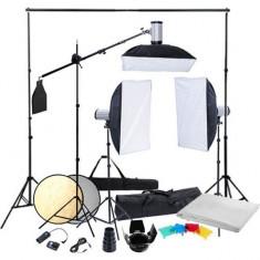 Kit studio (3 blițuri, 3 trepiede & 3 softbox-uri) - Lumini Studio foto