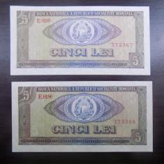 Bancnota Romania 5 lei 1966 serii consecutive - Bancnota romaneasca
