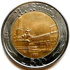 ITALIA, 500 LIRE 1985, PRIMA MONEDA BRAILLE DE PE PLANETA !!!, Europa, Cupru-Nichel