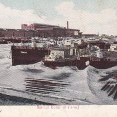 SALUTARI DIN BRAILA, BASINUL DOCURILOR IARNA CIRC. 1909 - Carte Postala Muntenia 1904-1918, Circulata, Printata