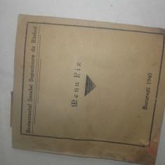 Restaurantul Scoalei Superioare de Rasboi , 1940, MENIU FIX