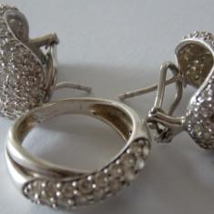 Set cercei si inel argint cu zirconiu -1647 - Set bijuterii argint