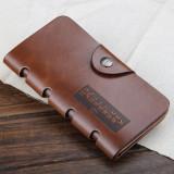 Portofel lung Baellerry piele + textil + piele eco maro brown capsa siguranta - Portofel Barbati, Coffee, Cu inchizatoare