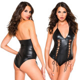 Lenjerie Lady Lust Sexy Costum Negru Black Teddy Piele PU Body Vinil Wet Look, Din imagine, M