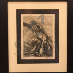 TABLOU, MARCEL CHIRNOAGA, grafica, 21 CM X 15 CM - Pictor roman