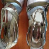 Sandale de dama NINE WESTY,piele, bicolor auriu-argintiu, purtate o data