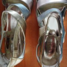 Sandale de dama NINE WESTY, piele, bicolor auriu-argintiu, purtate o data - Sandale dama Nine West, Marime: 39.5, Piele naturala