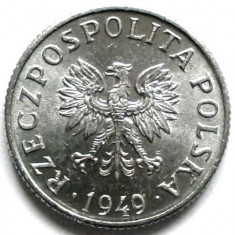 POLONIA, 1 GROSZ 1949, UN SINGUR AN DE BATERE !!! THE WHITE EAGLE !!!, Europa, Aluminiu