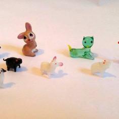 Set 7 miniaturi animale sticla + 1 iepure de ceramica, decor, colectie, 12mm-3cm - Bibelou