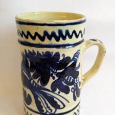 Cana, canceu, halba din ceramica / lut de Korond, veche, 17cm inaltime, - Bibelou
