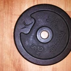Disc haltera/gantera din fonta 5 kg, marca Domyos, Greutate (kg): 5