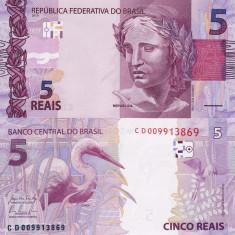 BRAZILIA 5 reais 2010 UNC!!! - bancnota america