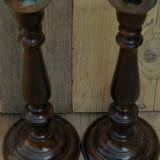 PERECHE 2 SFEȘNICE ÎNALTE DE MASĂ FĂCUTE DIN BRONZ MASIV CROMAT, MARI ȘI VECHI! - Metal/Fonta, Sfesnice