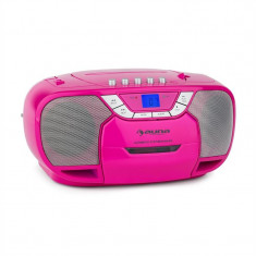 Auna BeeGirl Boom Box Ghetto Blaster FM radio și / MP3 player portabil ecran LCD casetofon CD roz - Combina audio