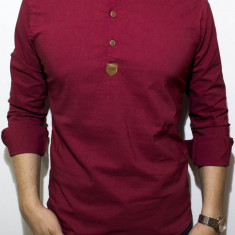Camasa - camasa grena - camasa slim fit - camasa elastica - cod 132, L, Maneca lunga, Din imagine